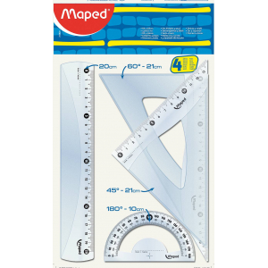 Kit De Traçage Transparent (04 Pcs - 20 Cm) S-Blister Start Maped 242820